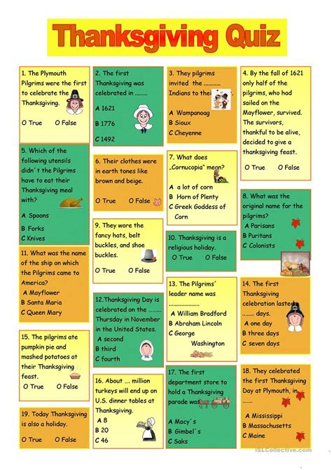 printable thanksgiving questions and answers thanksgiving quiz worksheet free esl printable