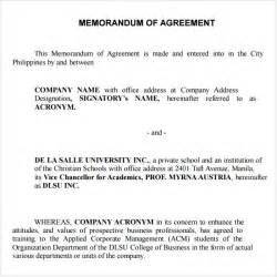 Memorandum Of Agreement Letter Format Memorandum Of Agreement 9 Free Pdf Doc