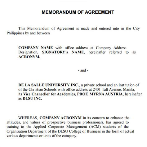 template memorandum of agreement memorandum of agreement 9 free pdf doc