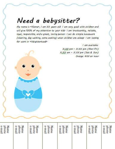 Babysitting Flyers And Ideas 16 Free Templates Babysitting Ad Template
