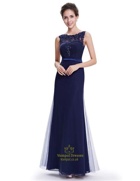 navy blue floor l navy blue sheath floor length tulle prom dress with beaded