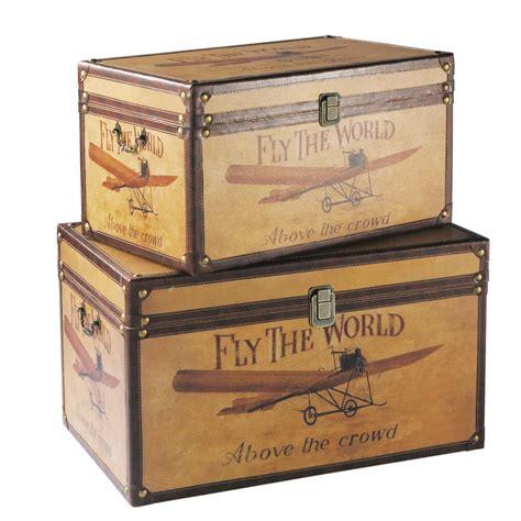 2 malles en bois l 59 et l 69 cm aviateur maisons du monde