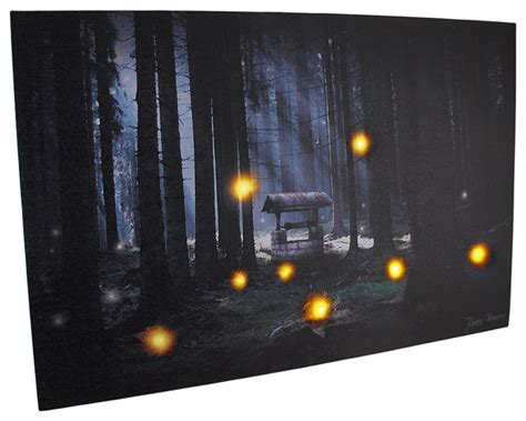 Lighted Canvas Pictures by Enchanted Forest Flickering Led Lighted Canvas Wall Hanging Prints And Posters By Zeckos