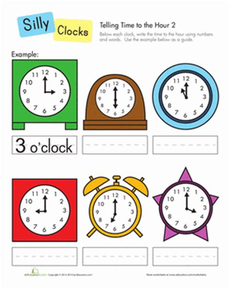 clock worksheets on the hour telling time to the hour worksheet education com