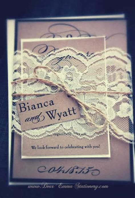 brown paper wedding invitations rustic lace calligraphy script wedding invitations brown
