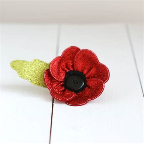 Brooch Handmade - glitter poppy brooch by rosiebull designs
