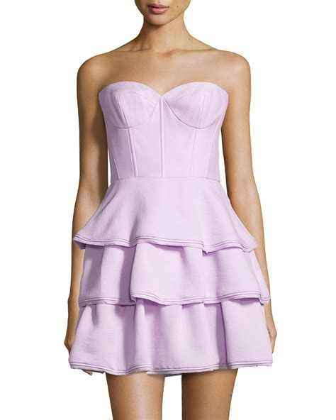 Dress Ruffle Dress lyst bcbgmaxazria jacklyn strapless tiered ruffle dress in purple
