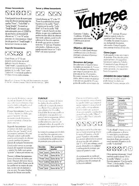 printable yahtzee directions spanish yahtzee rules
