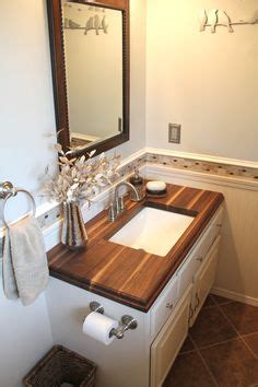 wood countertops in bathroom small bathroom with walnut wood counter top our wood your home pinterest