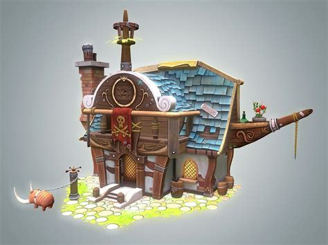 pirate house 3d model stylized pirate house vr ar low poly max fbx dxf unitypackage cgtrader com