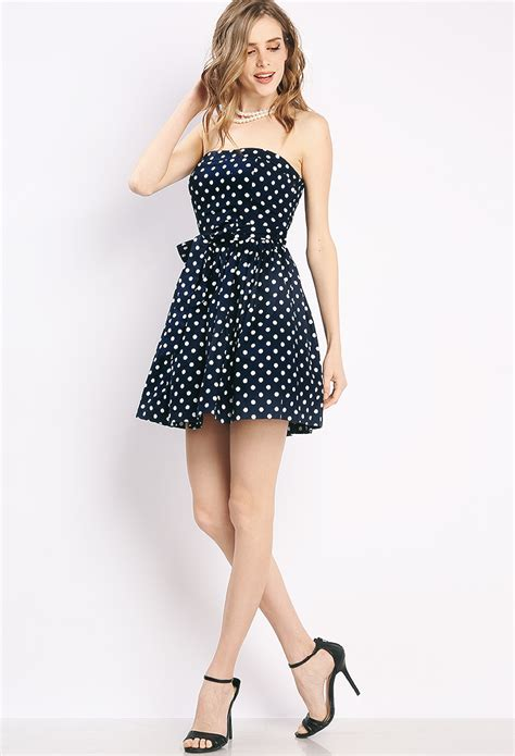 Mini Dress Polkadot Katun strapless polka dot mini dress shop sale at papaya clothing