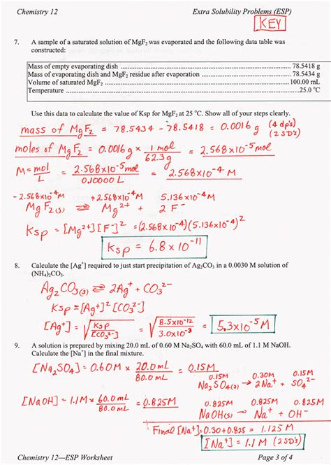 Chemistry Unit 5 Worksheet 2 Answer Key by Chemistry 12 Mr Nguyen S Website