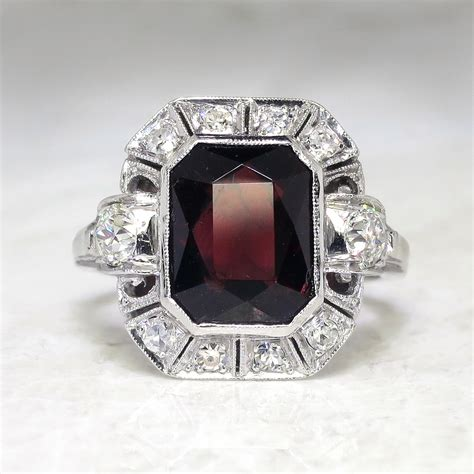 deco emerald cut ring deco 1930 s vintage 4 24ct t w emerald cut garnet european cut ring antique