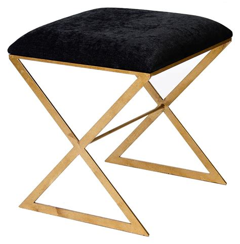 ottoman stools chi hollywood regency gold black velvet stool ottoman