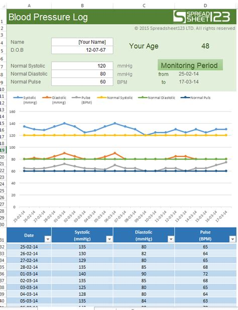 raj excel excel template blood pressure log
