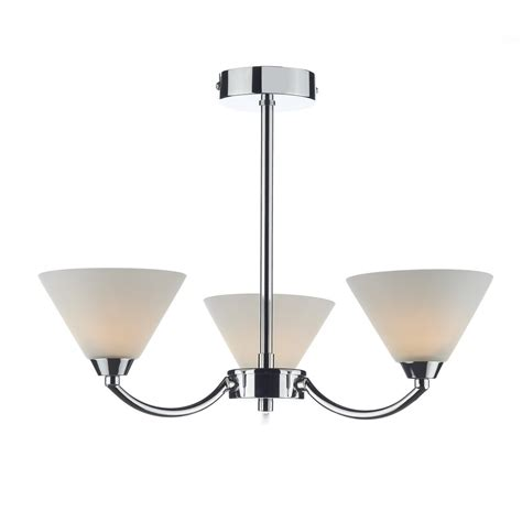 Contemporary Semi Flush Ceiling Lights Dar Lighting Hen0350 Henley Modern 3 Light Polished Chrome Semi Flush Ceiling Light Dar