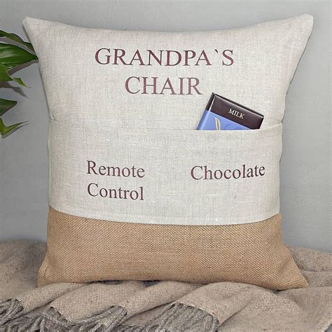 personalised pocket cushion birthday gift for grandad