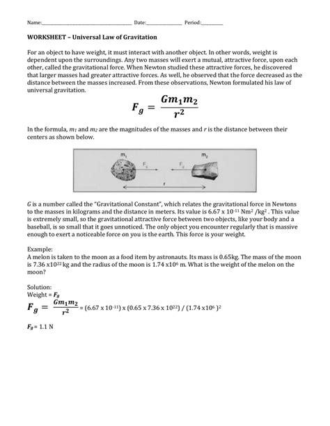 Universal Of Gravitation Worksheet by Worksheets Of Universal Gravitation Worksheet
