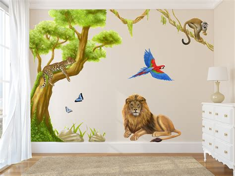 jungle wall decals  large tree wall stickers