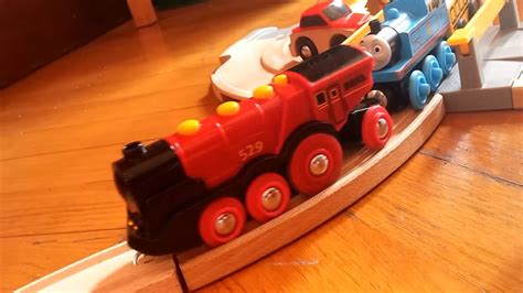 electric brio train big red electric locomotive steam train brio on track