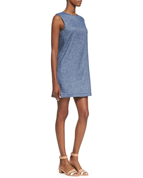 Sleeveless Dress Denim theory tierra sleeveless chambray shift dress in blue