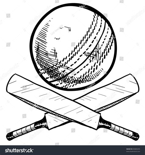 doodle cricket doodle style cricket sports equipment vector stock vector