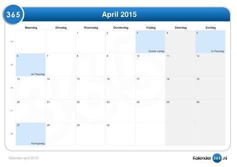 Calendar April 2015 Kalender April 2015