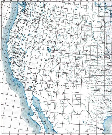 map of the united states with latitude and longitude and cities i western united states map 1906 size