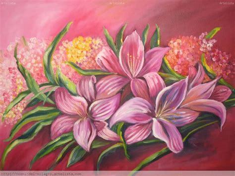cuadros de lirios lirios y hortencias oleo noemi amerisse artelista