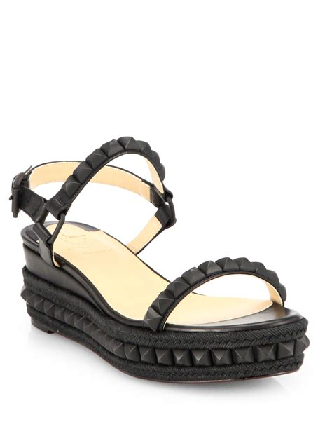 Sandal Wedges Bunga Af13 11 christian louboutin cataclou studded wedge sandals in black lyst