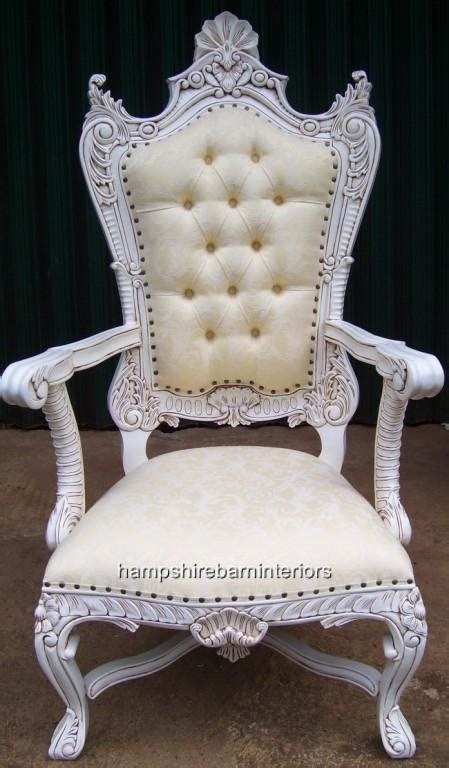 white throne chair large kings throne chair in antique white and cream images frompo