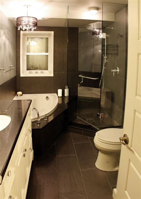 Small Bathroom Ideas Houzz Astounding Small Bathroom Decorating Ideas Houzz With Undermount Corner Bathtub And Frameless