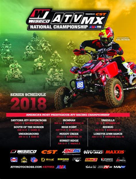 ama atv motocross schedule 2018 wiseco atv motocross series schedule announcement