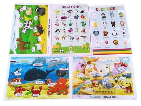 membuat poster untuk anak sd jual poster belajar paket binatang 01 untuk anak usia paud