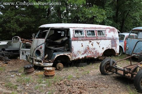 a vintage vw at a missouri salvage yard volkswagen