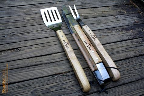 Handmade Bbq Tools - personalized grill tool set engraved bbq by rusticcraftdesign