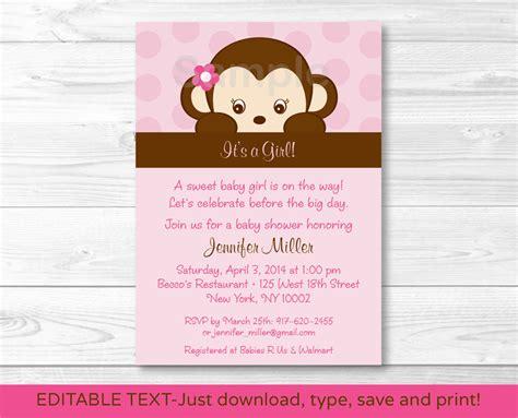 monkey baby shower invitations printable monkey printable baby shower invitation editable pdf ebay