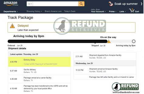 amazon tracking amazon prime late package delivery refund retriever