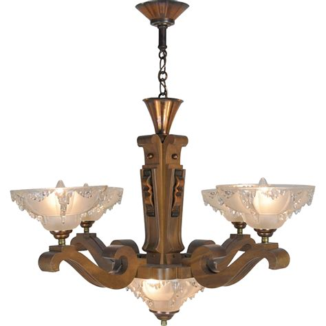 Wooden Chandeliers Lighting Deco Ezan Style Icicle Chandelier With 4 Arm Wooden From Vintagehardware