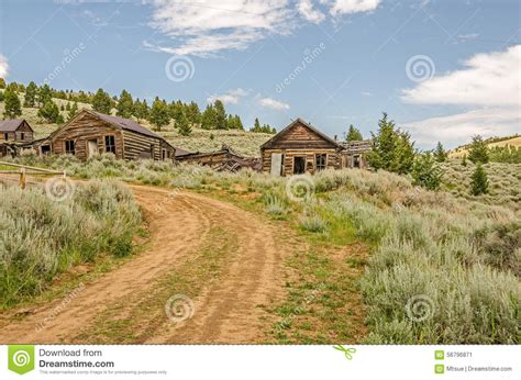 Amazing Log Homes Plans And Prices #3: Abandoned-neglected-homes-along-dirt-road-old-mining-town-which-now-ghost-town-56796871.jpg
