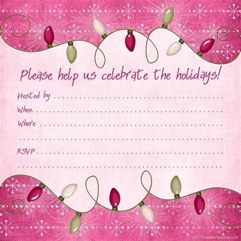 printable holiday invitation templates invitations printable party kits