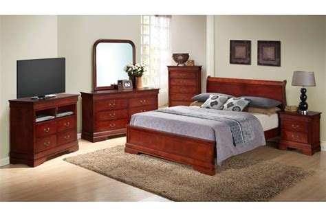 Queen Size Platform Bedroom Sets | bedroom sets dawson cherry queen size platform look bedroom set newlotsfurniture