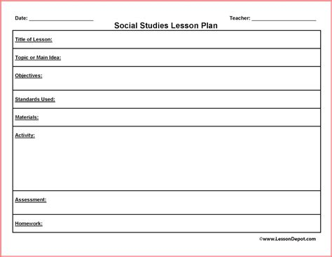 generic lesson plan template search results for free printable blank lesson plan