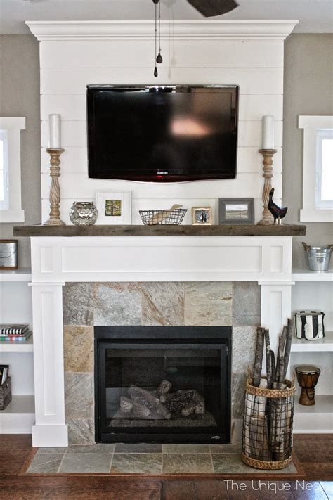 shiplap fireplace with built ins the unique nest - Shiplap Fireplace