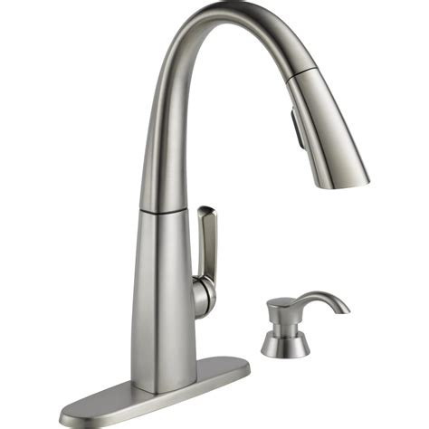 faucets kitchen shop delta arc spotshield stainless 1 handle pull deck mount kitchen faucet at lowes
