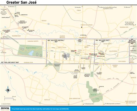 san jose costa rica nightlife map printable travel maps of costa rica moon travel guides