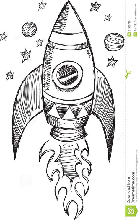 doodle sketch vector free doodle rocket vector stock vector image of drawing