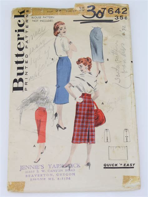 envelope skirt pattern 50 s vintage sewing pattern 1958 butterick pattern no