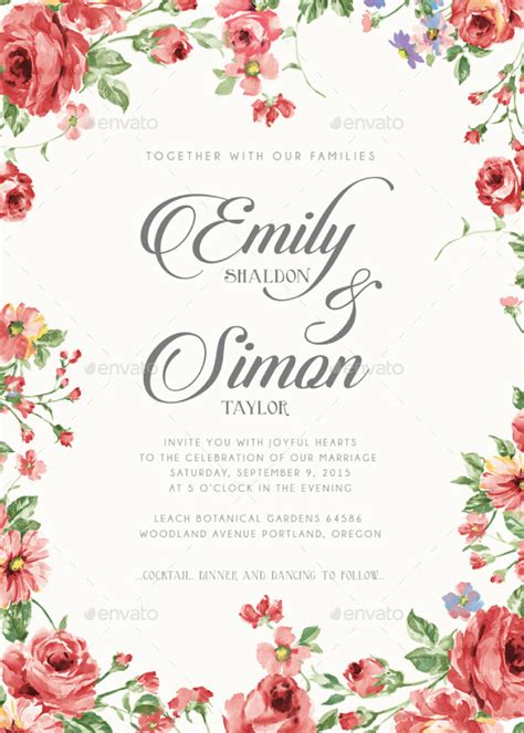 rustic floral wedding invitations  bnimit graphicriver