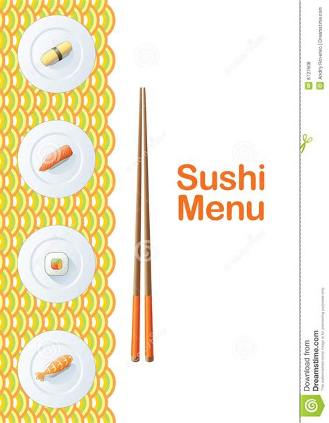 sushi menu template royalty free stock photos image 6727608